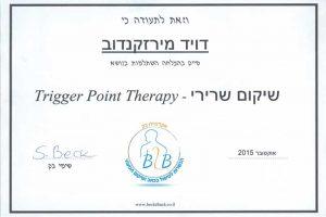 דויד מירז תעודה שיקום שרירי Trigger Point Therapy