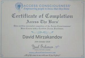 דויד מירז תעודת קורס access consciousness